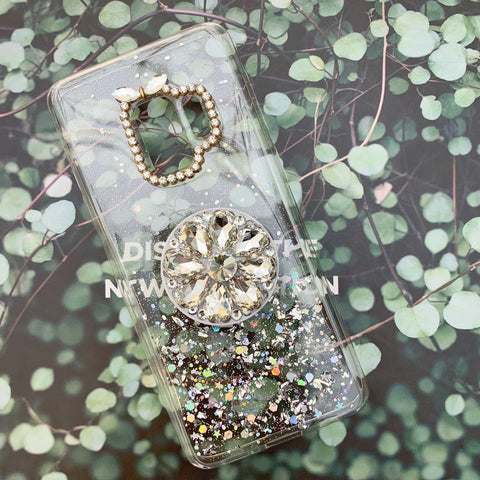 Glitter Gold Foil Phone Case for Samsung with Phone Holder and Hand Strap gallery 4