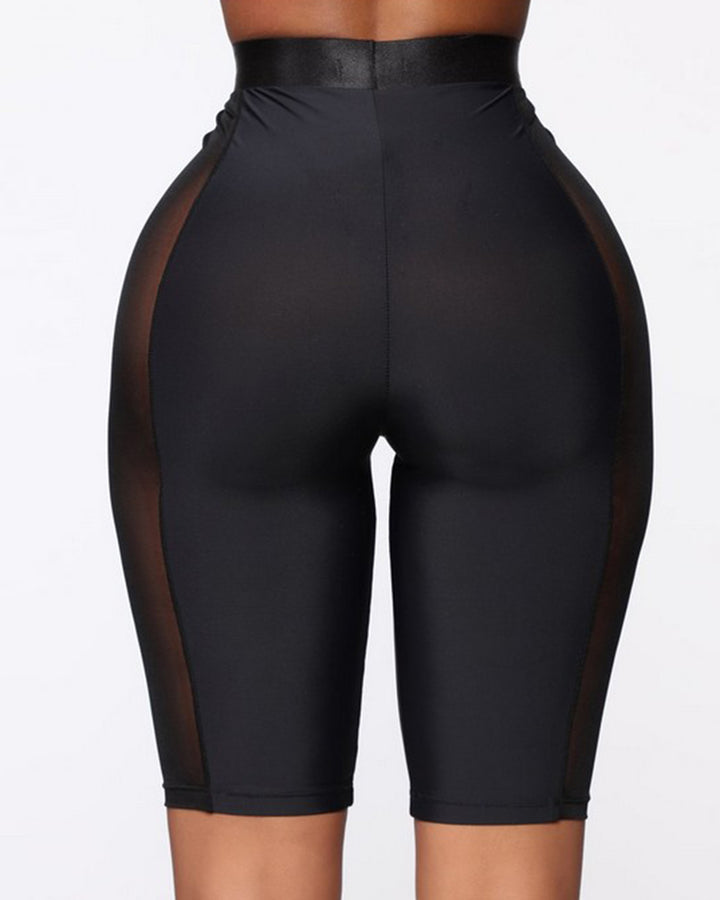 Solid Contrast Mesh Sports Shorts gallery 3