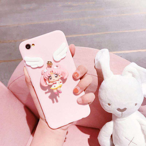 Solid Color Samsung Case with Lovable 3D Girl gallery 2