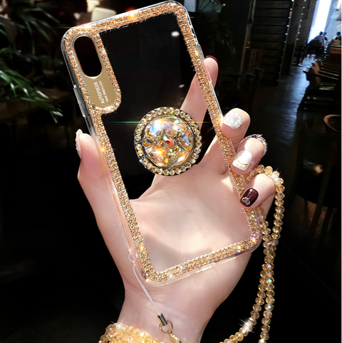 Luxury Crystal Stud Edge iPhone Case with Phone Holder and Hand Strap gallery 4