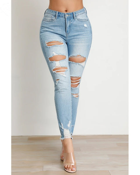 Butt Lifting Distressed Raw Hem Jeans