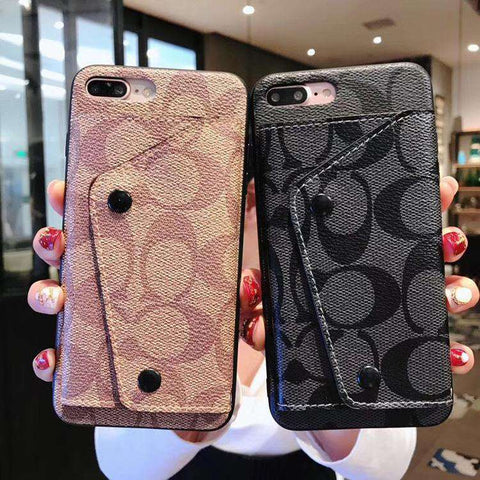 Luxury Letter Print Case For iPhone With Card Holder
