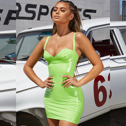 Sexy Lime Square Neck Patent Leather Bodycon Mini Dress gallery 5