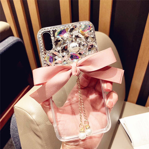 Bowknot Half Transparent & Rhinestone Phone Case for Samsung gallery 7