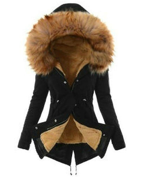 Drawstring Waist Faux Fur Hooded Parka Coat
