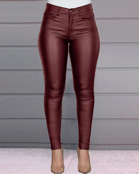 Solid Low Waist PU Leather Skinny Pants
