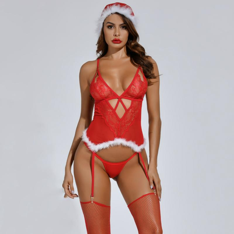 Fluffy Trim Cut Out Design Christmas Lingerie