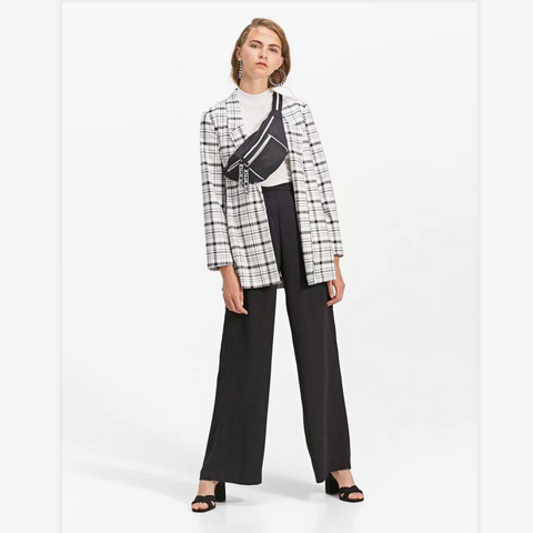 Monochrome Plaid Pattern Split Side Blazer