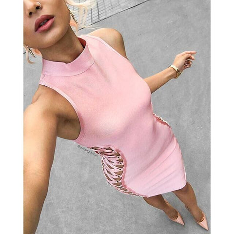 Sexy Side Hollowed Strappy Sleeveless Bandage Dress gallery 3