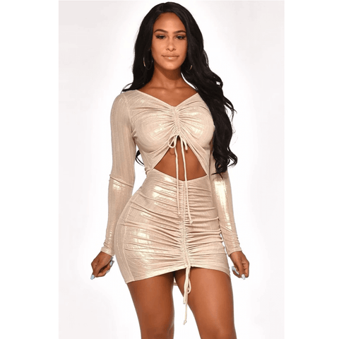 Metallic Cut Out Front Drawstring Ruched Mini Bodycon Dress gallery 1