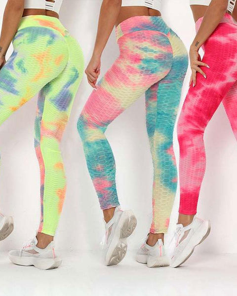Multicolor Tie Dye Textured Butt Lifting Ruched Leggings