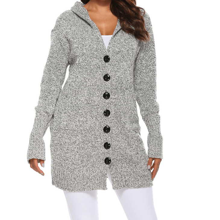 Chunky Button Up Pocket Front Hooded Knitted Cardigan