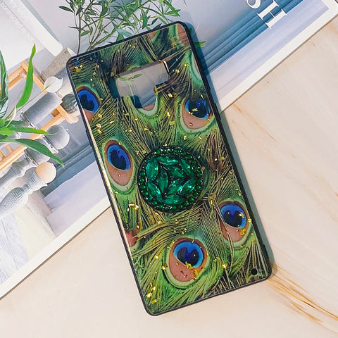 Peacock Pattern Phone Case for Samsung with Phone Holder and Pom-pom