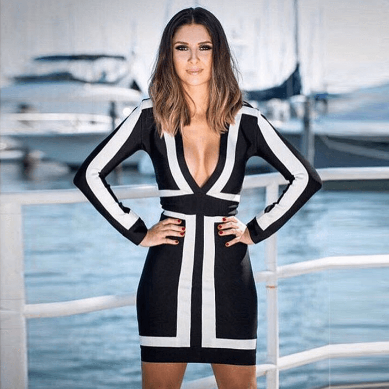 Monochrome Plunge Long Sleeve Bandage Dress