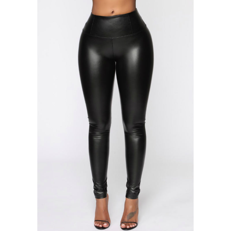 PU High Waist Solid Leggings