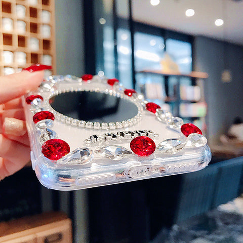 Oval Mirror Rhinestone Side Deco Phone Case for Samsung gallery 5