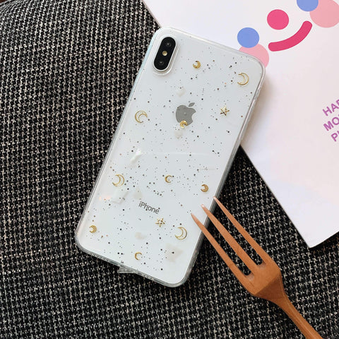 Glitter Moon Heart Pattern Crystal Detail Phone Case for Samsung gallery 4