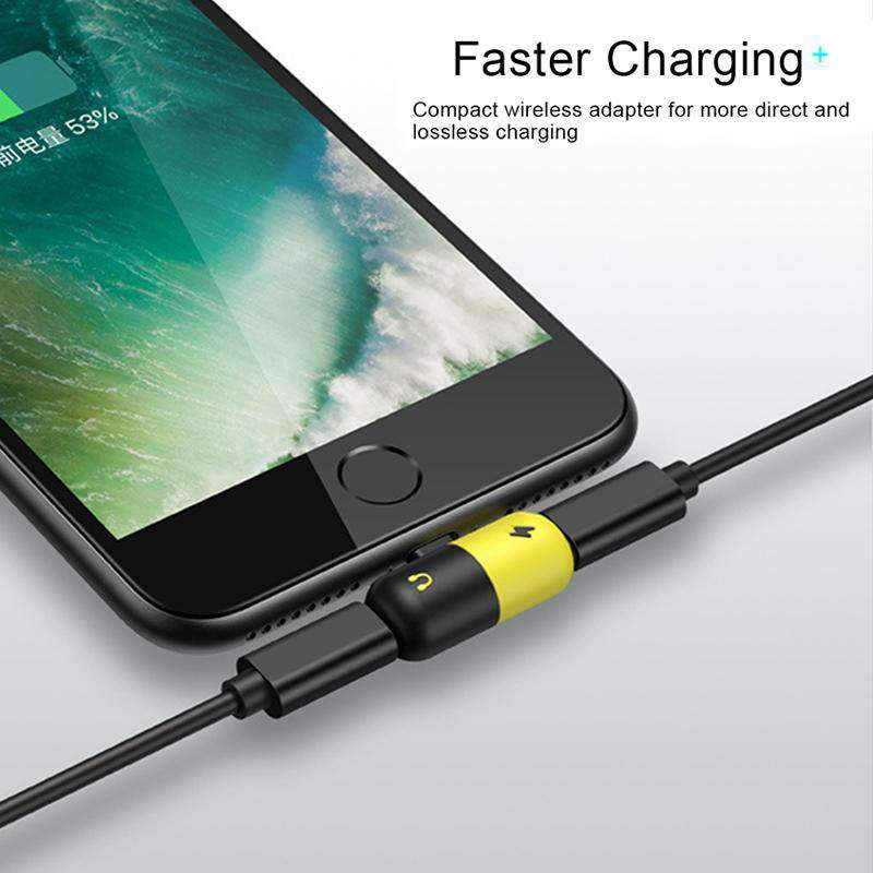 Dual Lighting Phone Charger Converter For iphone X 8 7 Plus 10 2 in 1 Mini AUX Splitter Convertor Charging Cable Adapter