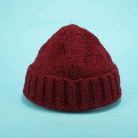 Solid-color Stitch Knit Beanie Hat gallery 10