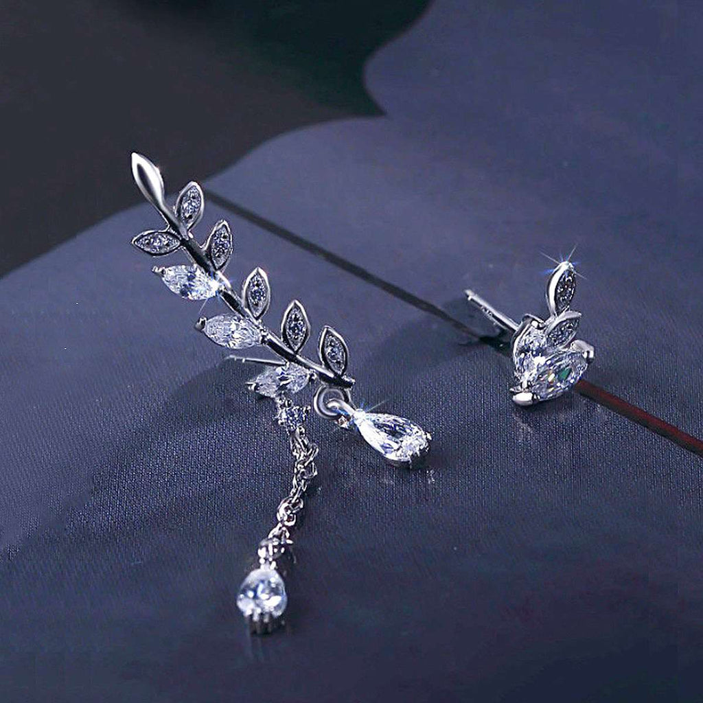 ZEGL Trendy 925 Silver Shining Asymmetric Ear Accessories With Leaf And Water Drop Shape
