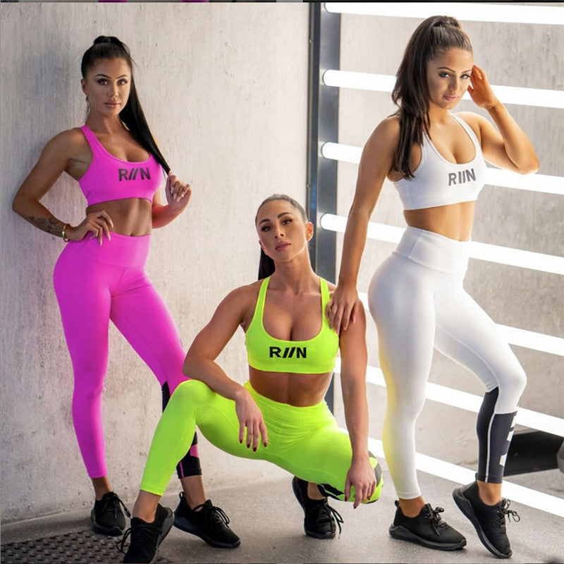 Neon Color Crop Top High Waist Leggings Set