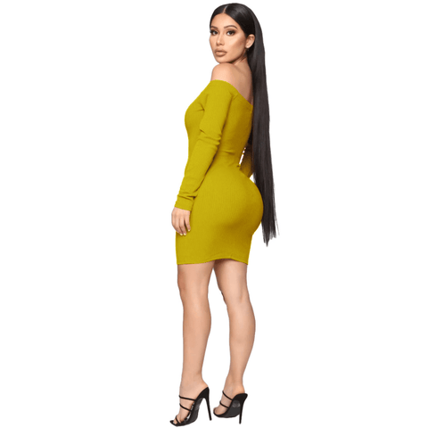 Shape Off Shoulder Ribbed Knitted Bodycon Dress gallery 13