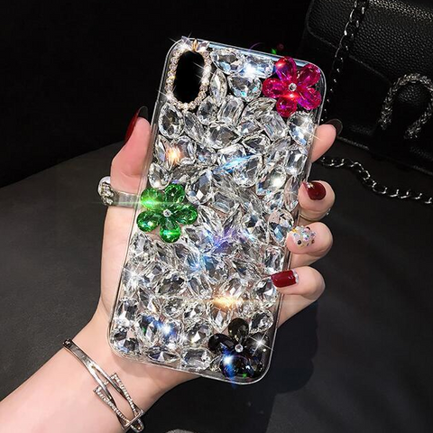 Glittering Floral Rhinestone Phone Case for Samsung gallery 5