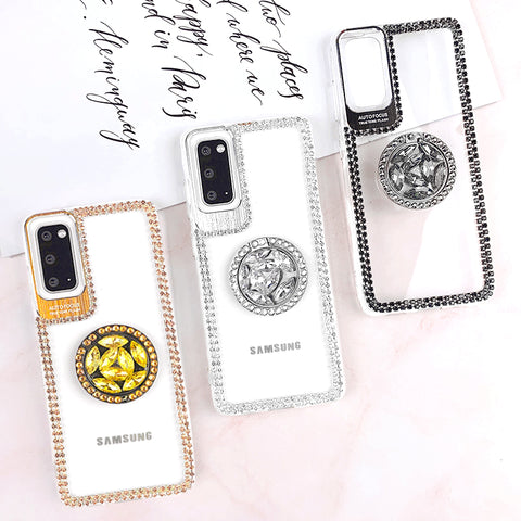 Luxury Crystal Stud Edge Phone Case for Samsung with Phone Holder and Hand Strap gallery 1