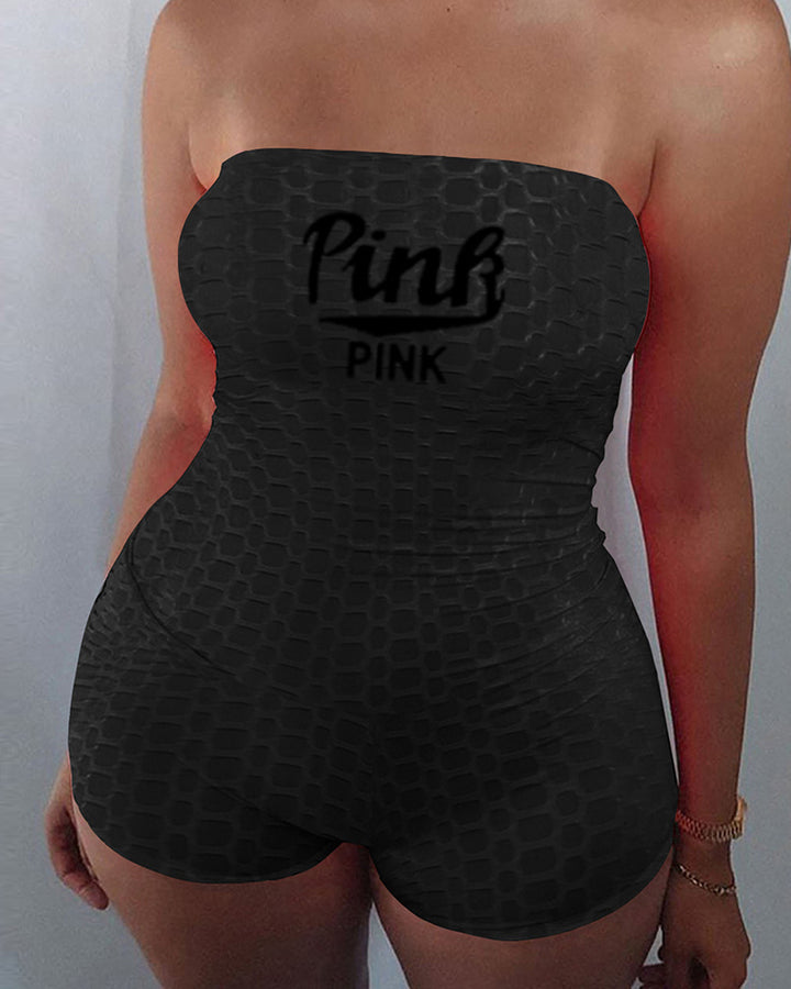 Letter Print Textured Strapless Sports Romper gallery 3
