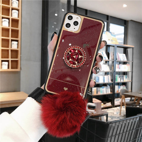 Luxury Glitter Star Heart Pattern Rhinestone Detail Phone Case for Samsung with Hand Holder and Pom-pom