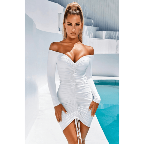 Solid Off Shoulder Drawstring Front Long Sleeve Mini Dress gallery 2