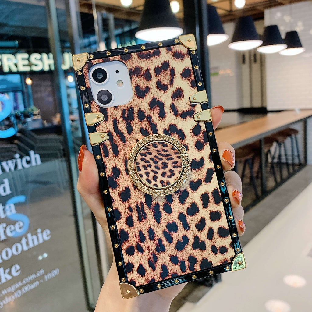 Leopard Print Rivet Deco Square Phone Case for Samsung with Phone Holder