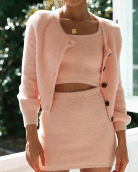 Velvet Button Detail 3 Piece Skirt Set