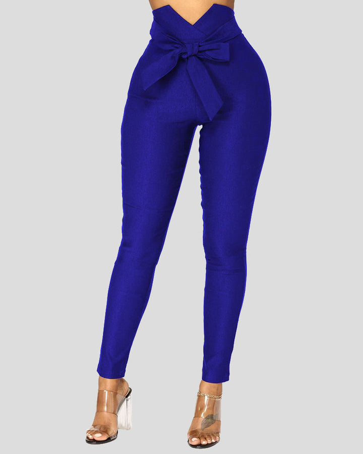 Solid Belt Tie V Wired High Waist Pants  gallery 4