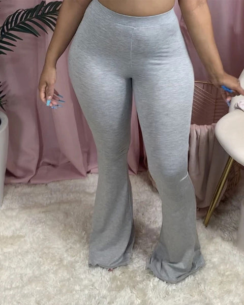Solid Butt Lifting Flare Pants