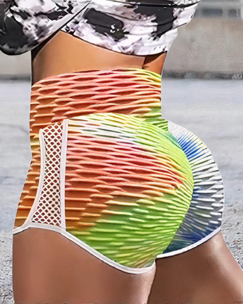 Tie Dye Textured Hollow Out Sports Shorts gallery 3