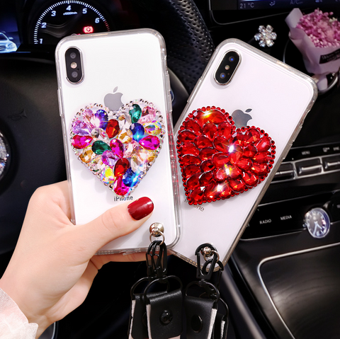 Heart Rhinestone Clear Transparent Phone Case for Samsung with Hand Strap gallery 1