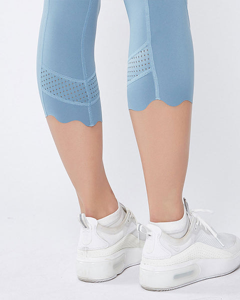 Hollow Out Scallop Detail Capris Sports Leggings gallery 11