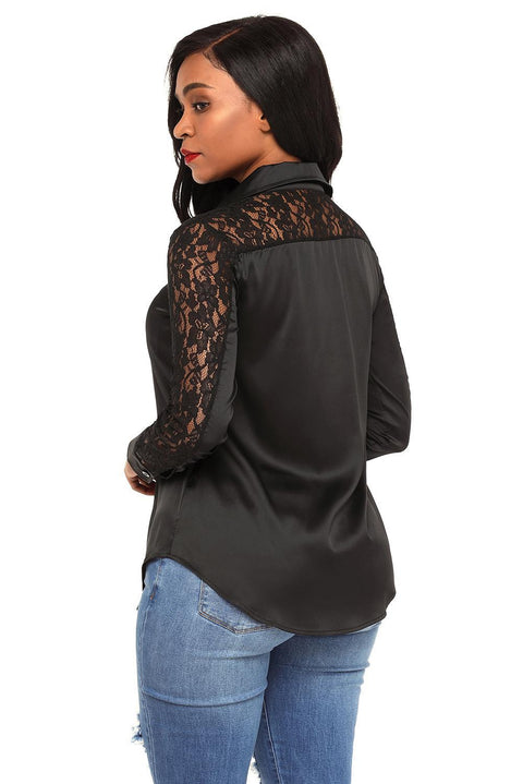 Black Lace Splice Long Sleeve Button Down Shirt gallery 5