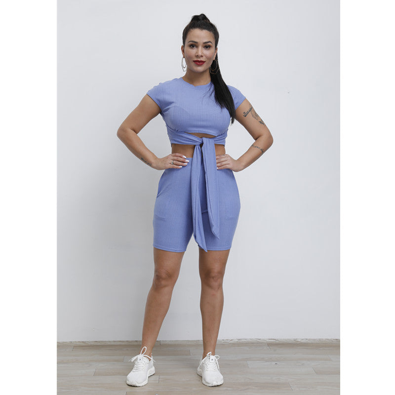 Round Neck Ribbed Tied Front High Waist Top & Short Set