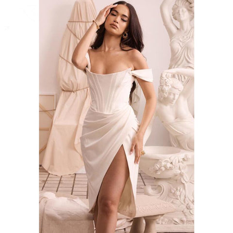 Off Shoulder Ruched Asymmetric Split Hem Midi Dress