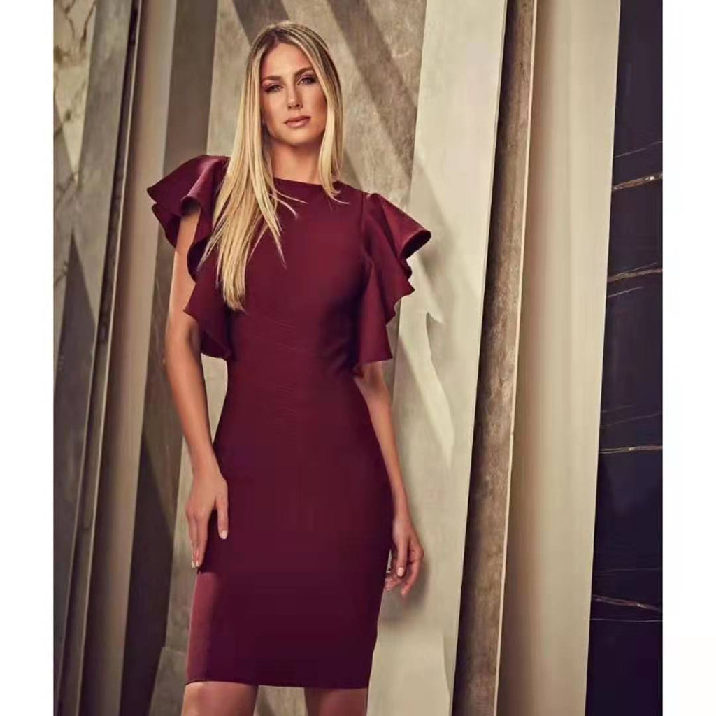 Classic Color Frill Sleeve Bodycon Dress