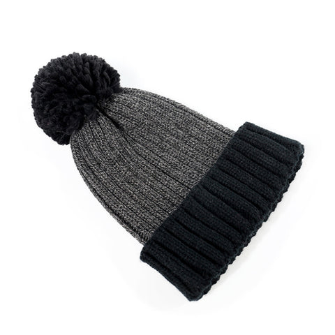 Pom Pom Decorated Knit Stitching Color Beanie Hat gallery 2