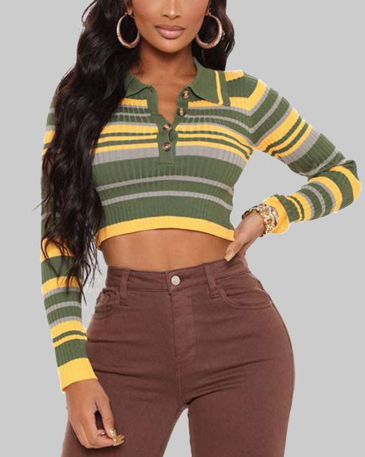 Striped Button Up Bodycon Crop Sweater gallery 1