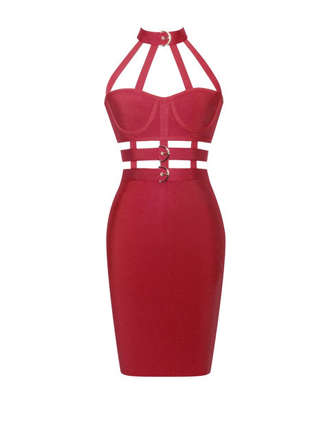 Red Cut Detail Strappy Halterneck Bandage Mini Dress gallery 2