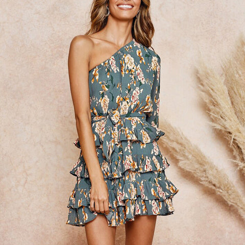 One Shoulder Floral Print Tied Waist Frill Tiered Dress