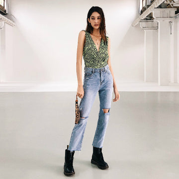High Waisted Light Wash Distress Cropped Jeans