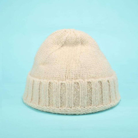 Solid-color Stitch Knit Beanie Hat gallery 5