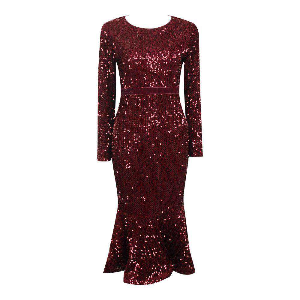 Long-Sleeved Sequined Round Collar Waist Dress