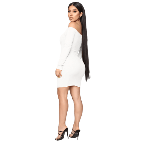 Shape Off Shoulder Ribbed Knitted Bodycon Dress gallery 15
